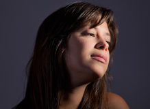 Close Up of Pretty Young Woman's Face Stock Photography