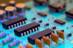 Close up printed circuit board stock photo