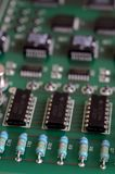 Close up printed circuit board with components Royalty Free Stock Photo