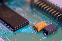 Close up printed circuit board with components Royalty Free Stock Photos