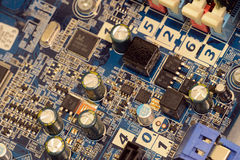 Close up of printed circuits on motherboard Stock Images