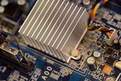Close up of printed circuits on motherboard Stock Photography