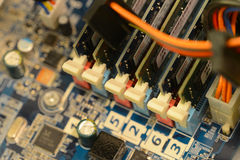 Close up of printed circuits on motherboard Royalty Free Stock Photography