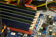 Close up of printed circuits on motherboard Royalty Free Stock Photos