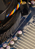 Close up of printed circuits on motherboard Royalty Free Stock Image