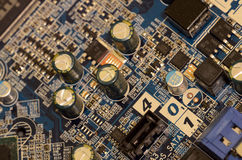 Close up of printed circuits on motherboard Stock Image