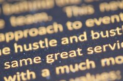Close up of printed text Royalty Free Stock Image