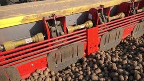 Close-up, proces van gemechaniseerde machine die potatoe planten grote tractor met speciale materiaal en aardappelzaden, ritten stock videobeelden