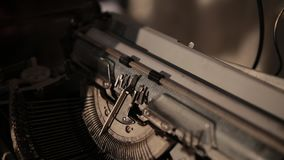 Close-up of process of ancient printing machine, slow motion