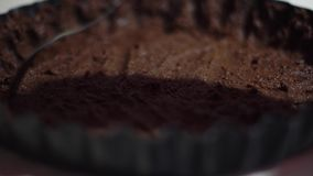 Close up of chocolate cake. Close up of process of cooking a chocolate cake