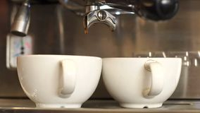 Close-up of making hot coffee in a coffee machine, two cups of coffee. stock video footage
