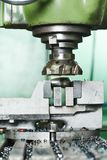 Close-up process of metal machining by mill Royalty Free Stock Photography