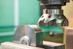 Close-up process of metal machining by mill Royalty Free Stock Image