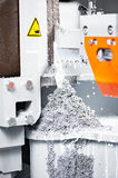 Close-up process of metal machining by saw Royalty Free Stock Photography