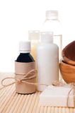 Close-up of products for spa and body care. Close-up of products for spa, body care and hygiene on a white background Stock Photos