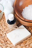 Close-up of products for spa and body care. Close-up of products for spa, body care and hygiene on a white background Royalty Free Stock Photography