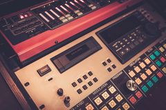 Close-up professional audio equipment with sliders and knobs at recording studio. royalty free stock image
