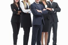 Close up.professional business team standing with arms crossed.isolated on white stock photos