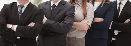 Close up.professional business team standing next to each other. stock image