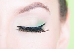 Close-up of professional green eye make-up Stock Image