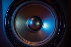 Close up of professional loudspeaker at music studio. Dance, disco, entertainment.  stock photography