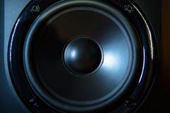 Close up of professional loudspeaker at music studio. Dance, disco, entertainment.  stock image