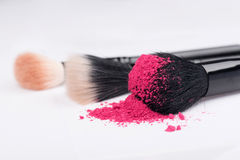 Close-up of  professional  make-up brush with Royalty Free Stock Photography