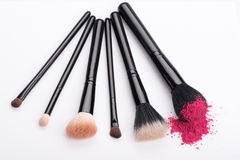 Close-up of  professional  make-up brush with Royalty Free Stock Photos