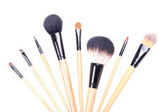 Close up of professional make-up brushes isolated on white Royalty Free Stock Images