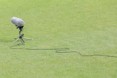 Close-up the professional sport microphone and set situated on t royalty free stock photo