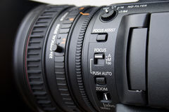 Close up of professional video camera lens Royalty Free Stock Photos