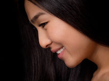 Close-up profile of Asian lady in studio Royalty Free Stock Photos