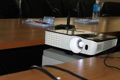 Close up Projector in conference room stock images
