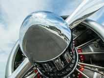 Close up of propeller on American AT-6 Texan engine stock image