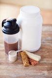 Close up of protein food and additives on table Stock Photo