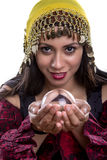 Close Up of Psychic Looking into Crystal Ball Stock Photography