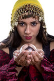 Close Up of Psychic Looking into Crystal Ball Stock Image