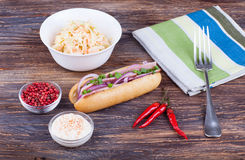 Close up of pulled chicken sandwich with coleslaw. Stock Image