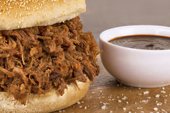 Close up on pulled pork sandwich Royalty Free Stock Photo