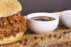 Close up on pulled pork sandwich Royalty Free Stock Image