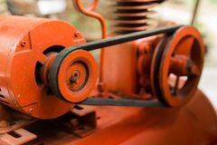 Close up pulley and belt drive. machine composed of pulley and a belt.  royalty free stock photography
