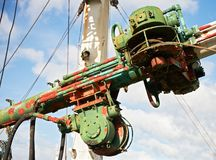 Close-up of pulley wheels with cables on an old ship royalty free stock photo