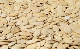 Close-up of pumpkin seeds, food background, isomet Royalty Free Stock Image