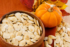 Close up of pumpkin seeds and small pumpkin Stock Photos