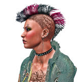 Close-Up of a Punk Girl with Brightly Colored Hair. A close up image of a female punk rocker style hari-do Stock Photo