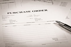 Close up of purchase order. Form with pen Stock Image