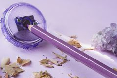Pencil sharpener with purple pencil and shavings stock photo