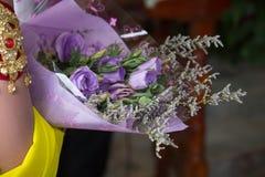 Purple roses bouquet. Close-up Purple roses bouquet royalty free stock images