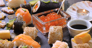 Close up push out view of an assortment of Japanese food: sushi, nigiri, sashimi Stock Images