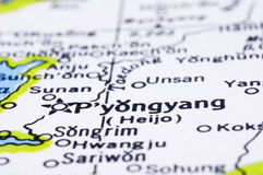 Close up of Pyongyang on map, North Korea. Close up of Pyongyang on map, capital city of North Korea royalty free stock photography